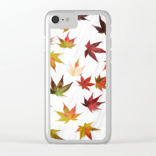AUTUMN LEAVES PATTERN #2 #decor #art #society6 Clear iPhone Case