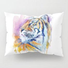 Young Tiger Watercolor Portrait Pillow Sham