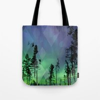 northern lights Tote Bags featuring Northern Lights by Ricca Design Co.