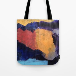 Mountain and Sun Abstract Acrylic Painting on Paper Tote Bag