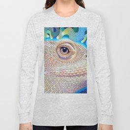 Dragon Star, Bearded Dragon Lizard Art Long Sleeve T-shirt