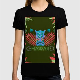 Tropical Totem And Leaves Landscape T-shirt