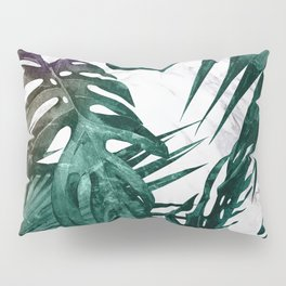 Tropical Palm Leaves on Marble Pillow Sham