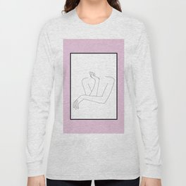 Crossed arms illustration - Anna Pink Border Long Sleeve T-shirt