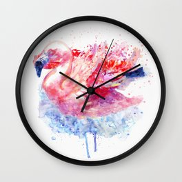 Flamingo on the Water Wall Clock