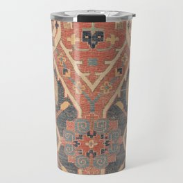 Geometric Leaves IV // 18th Century Distressed Red Blue Green Colorful Ornate Accent Rug Pattern Travel Mug