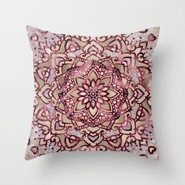 Burgundy plum mandala Throw Pillow