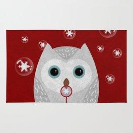 Christmas Owl Red Marble Rug
