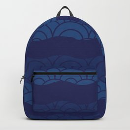 Oriental Blue Abstract Pattern with Lines and Waves Backpack