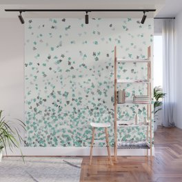 Floating Confetti - Cream Mint and Silver Wall Mural