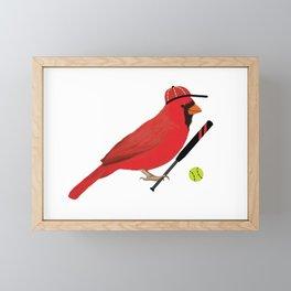 Softball Cardinal Framed Mini Art Print