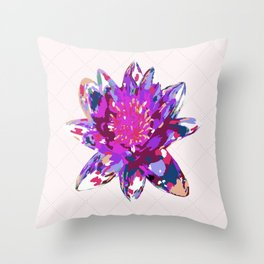 Abstract Painted Lotus Flower Throw Pillow