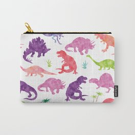 Watercolor Dinosaur Silhouette Pattern Purple Pink Green Carry-All Pouch