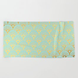 Art Deco Mermaid Scales Pattern on aqua turquoise with Gold foil effect Beach Towel
