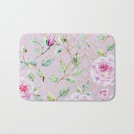 Roses with gold geometric pattern Bath Mat