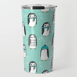 Christmas penguin cute animal pattern winter holiday gifts mint Travel Mug