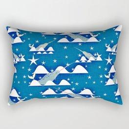 Sea unicorn - Narwhal blue Rectangular Pillow