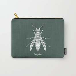 Honey Bee White on Green Background Carry-All Pouch
