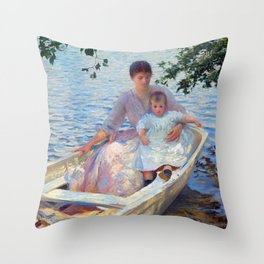 Edmund Charles Tarbell Mother and Child in a Boat Throw Pillow