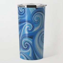 Parting Waves abstract ocean sea swirls painting Travel Mug