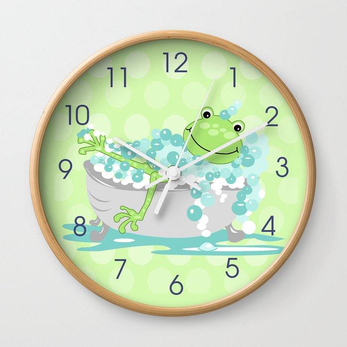 Frog in BathTub Kids Shower Bathroom Art Wall Clock