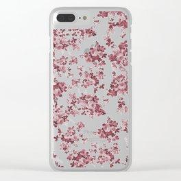 Elegant pastel pink marsala red roses floral pattern Clear iPhone Case