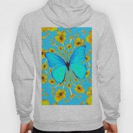 BLUE BUTTERFLY YELLOW AMARYLLIS PATTERNED ART Hoody