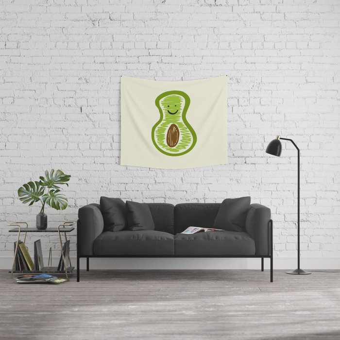 Smiling Avocado Food Wall Tapestry