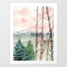 Watercolor Mountain Landscape Art Print