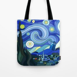 Tardis Art Starry Night Tote Bag