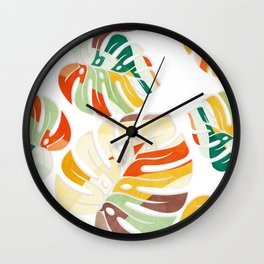 leaves seamless mid century pattern Wall Clock