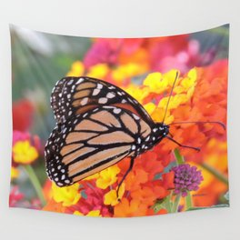 Monarch Feeding on Lantana Wall Tapestry