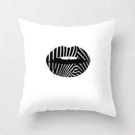 Zebra Pattern Lips Zebra Stripes Fur Print Animal Print Throw Pillow