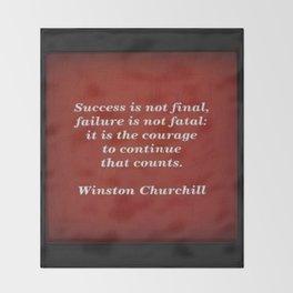 Winston Churchill Success Quote Throw Blanket