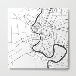 Bangkok Thailand Minimal Street Map - Gray and White Metal Print