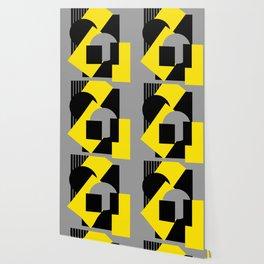 Geometrical abstract art deco mash-up gray yellow Wallpaper