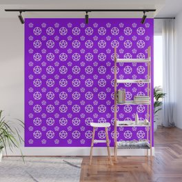 Violet White Pentacle Pattern Wall Mural