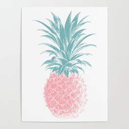 Simple Modern Boho Pineapple Drawing Poster