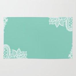 White Flower Lace Henna Design Teal Blue Mint Aqua Vintage Lace White Lace Design Rug