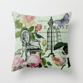 botanical butterfly garden roses french mannequin fashion paris Throw Pillow