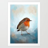 robin Art Prints featuring Robin by Freeminds