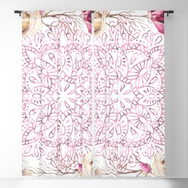 Mandala Rose Garden Pink on White Blackout Curtain