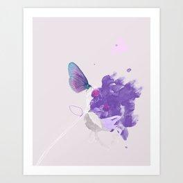 Purple butterfly & flower watercolor illustration painting Art Print