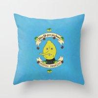 lemongrab Throw Pillows featuring LEMON GRAB LEMONS by Alyssa Leary