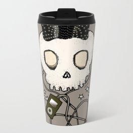 Girly Skull with Black Bow / Die for Music Metal Travel Mug