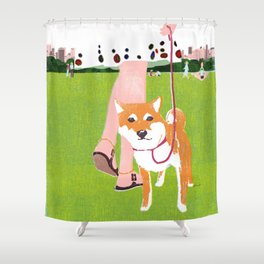 Shiba inu in Central Park Shower Curtain
