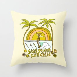 stay golden sun child //retro surf art by surfy birdy Throw Pillow