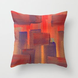 Abstract City Sunset Throw Pillow