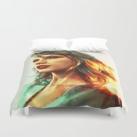 god Duvet Covers featuring When the Sun Came Up by Alice X. Zhang