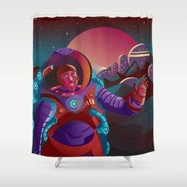 red suit astronaut on planet base Shower Curtain
